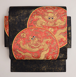 丸紋に龍の付け袋帯