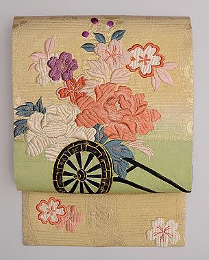 花車文様刺繍名古屋帯