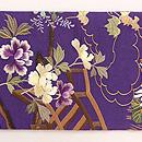 草庵に四季の花文様刺繍名古屋帯 前柄