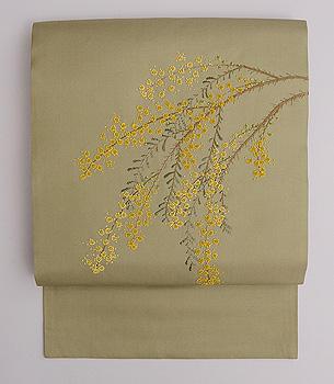 ミモザの刺繍名古屋帯