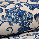 白地に藍の唐草文様和更紗名古屋帯 質感・風合