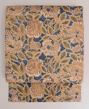 藍地八重椿文様和更紗名古屋帯