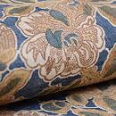 藍地八重椿文様和更紗名古屋帯 質感・風合