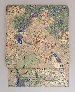 桜に小鳥織り名古屋帯