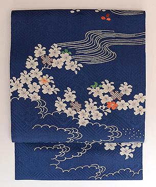 桜に流水文様染め名古屋帯