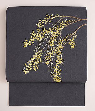 グレー地ミモザの刺繍名古屋帯