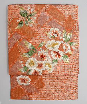 有松絞りに桜の刺繍名古屋帯