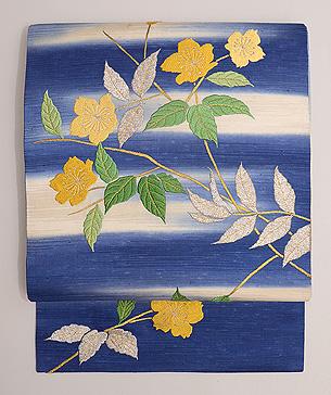 山吹の刺繍名古屋帯