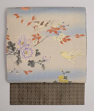 四季の花に小鳥たち江戸縮緬名古屋帯