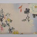 四季の花に小鳥たち江戸縮緬名古屋帯 前柄