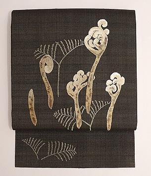 早蕨の刺繍名古屋帯