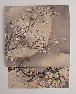 満月に桜の名古屋帯