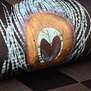 市松に孔雀の羽根文様描き絵名古屋帯 質感・風合