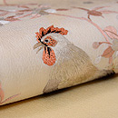 桜に尾長鶏の刺繍名古屋帯 質感・風合