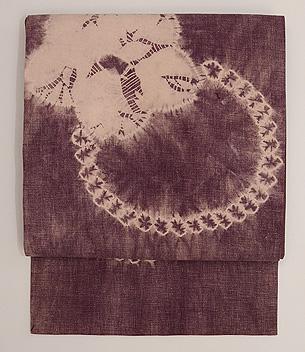 鹿角紫根染め名古屋帯
