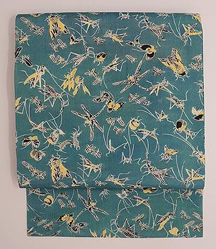 薄浅葱色百虫図の名古屋帯