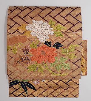 間垣に牡丹文様唐織付帯