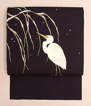 川辺に鷺刺繍名古屋帯