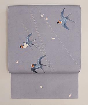 飛翔燕の刺繍名古屋帯