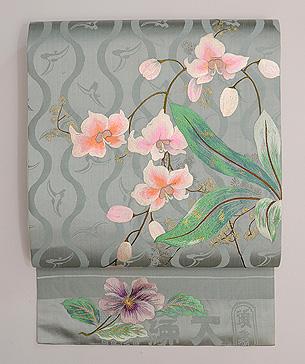 立涌に春蘭の刺繍開き名古屋帯