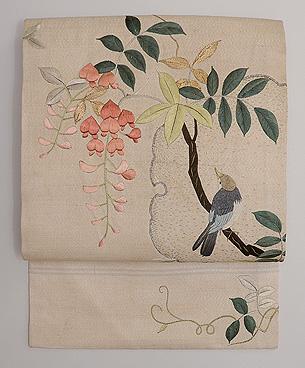 藤の花に百舌鳥の刺繍名古屋帯