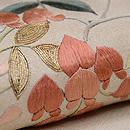 藤の花に百舌鳥の刺繍名古屋帯 質感・風合