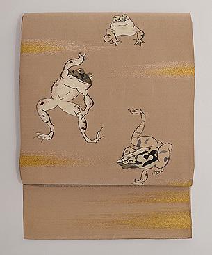 カエルのお相撲図綴れの単衣帯
