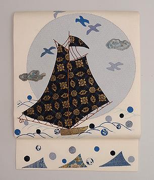 満月の海、帆船とカモメのコラージュ名古屋帯