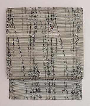 枝垂れ柳に蛍の刺繍名古屋帯