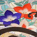 流水に扇面の刺繍開き名古屋帯 質感・風合