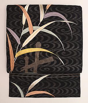 水辺に葦文様刺繍紗の名古屋帯