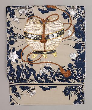 虫かごの刺繍絽の名古屋帯