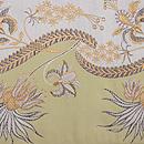 洛風林製 アールヌーヴォー文様白茶袋帯 前柄