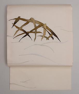 白地蛇籠の刺繍紗名古屋帯