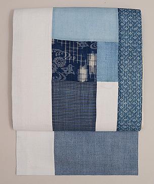 藍色切継の名古屋帯