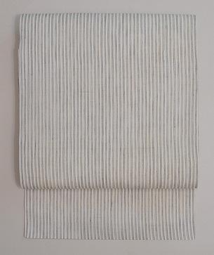 白地三筋縞の麻名古屋帯