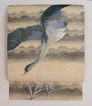 雁の刺繍紗の名古屋帯