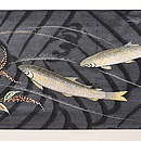 蛇籠に鮎の刺繍名古屋帯 前柄