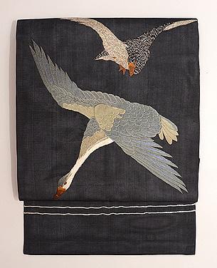 雁の刺繍絽の名古屋帯