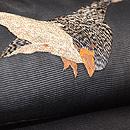 雁の刺繍絽の名古屋帯 質感・風合