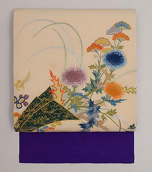 花熨斗文様絽の名古屋帯