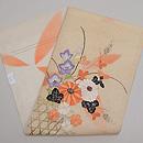 秋花籠盛り文様紋紗の刺繍名古屋帯 帯裏