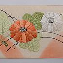秋花籠盛り文様紋紗の刺繍名古屋帯 前柄