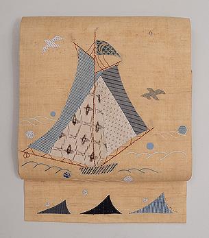 ヨットのコラージュ麻の名古屋帯