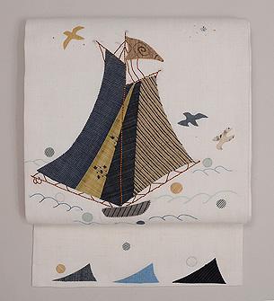 ヨットのコラージュ紬地名古屋帯