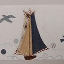 ヨットのコラージュ紬地名古屋帯 前柄