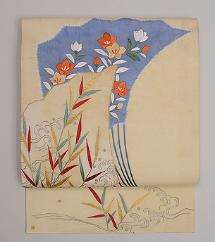 扇面に秋草の図刺繍名古屋帯