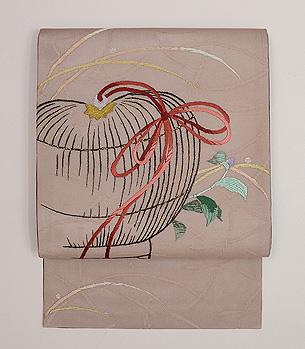 虫籠の図刺繍名古屋帯