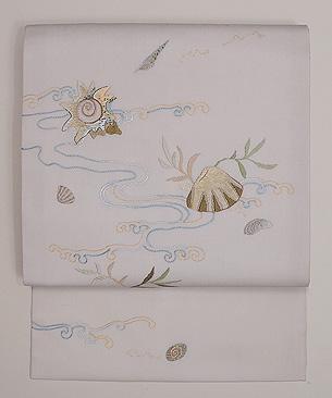 貝の刺繍夏名古屋帯