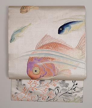 魚の図刺繍名古屋帯